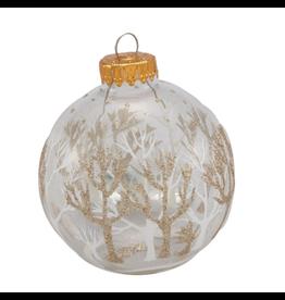 Kurt Adler Clear Glass Ball Ornaments W Tree Design 2.5 inch Set of 4