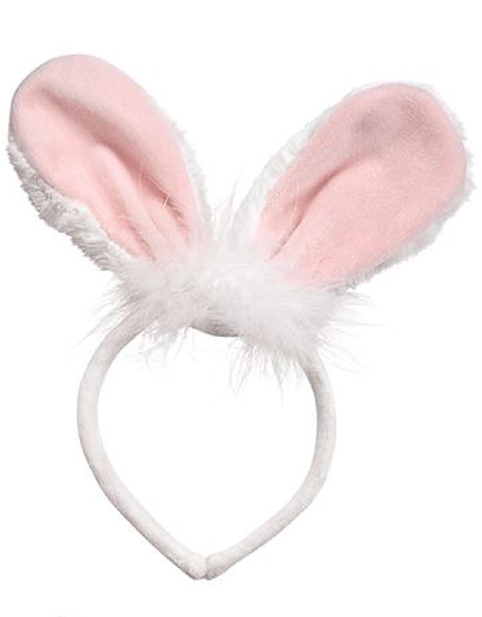 Mud Pie Bunny Ears Headband - White w Pink Velour