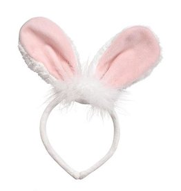 Mud Pie Bunny Ears Headband - White w Pink Velour