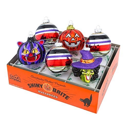 Christopher Radko Shiny Brite Halloween Ornaments Rounds and Figures 9pc