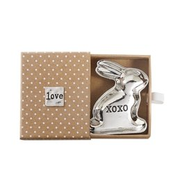 Mud Pie Mini Metal Bunny Trinket Dish w Gift Box 2x2 XOXO-Love