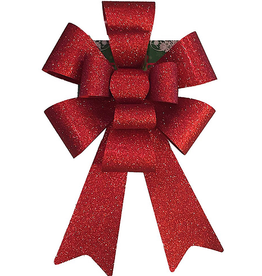 Darice SET OF 12- Christmas Red Glitter 12 inch Bow PVC 11 Loops