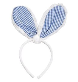 Mud Pie Bunny Ears Headband - White w Blue Gingham