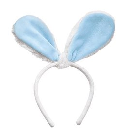 Mud Pie Bunny Ears Headband - White w Blue Velour