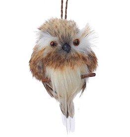 Kurt Adler Brown White Owl On Branch Christmas Ornament 4 Inch - B