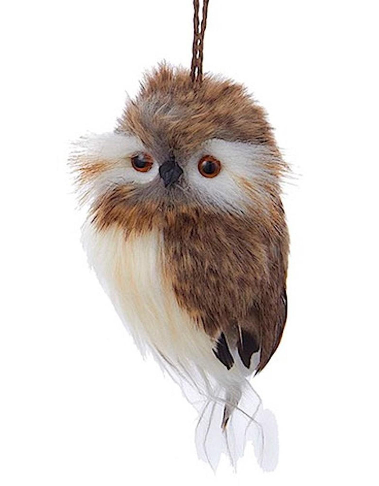 Kurt Adler Brown White Owl Round Head Christmas Ornament 4 inch - C