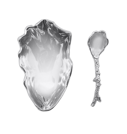 Mariposa Oyster Dish with Coral Spoon Set