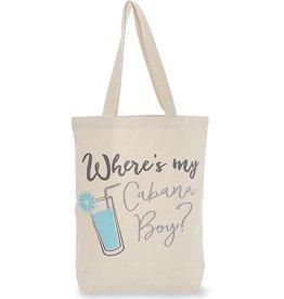 Mud Pie Canvas Beach Tote Bag w Handles - Wheres My Cabana Boy