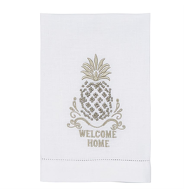 Mud Pie Pineapple French Knot Towel w Welcome Home