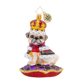 Christopher Radko Kingly Mr. Pug Christmas Ornament
