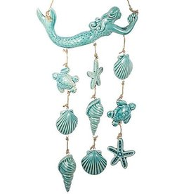 Mud Pie Turquoise Glazed Mermaid Wind Chime with Sealife Charms