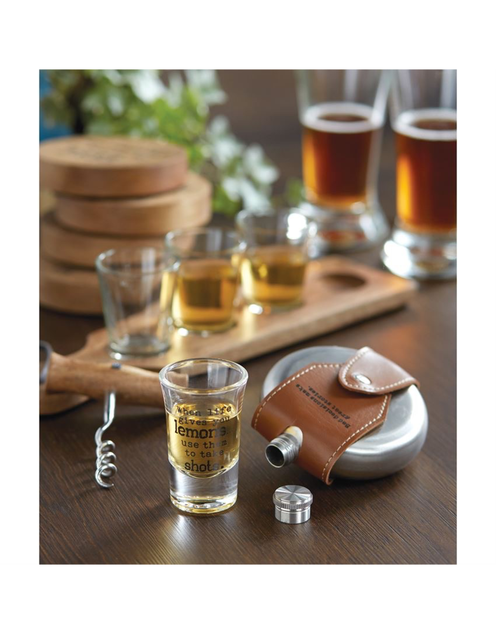 Mud Pie Leather Sentiment Flask 4oz w CHEERS To The Nights We'll Never Remember