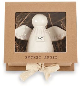 Mud Pie Joy Pocket Angel Milk Glazed Terracotta 3.5 inches