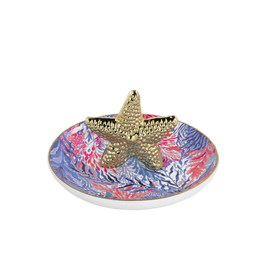 Lilly Pulitzer® Ring Holder Ring Dish With Gold Starfish - Kaleidoscope Coral