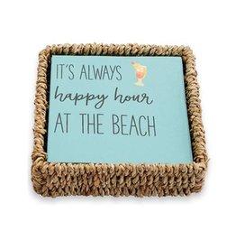 Mud Pie Cocktail Napkins w Basket - Its Always Happy Hour At The Beach