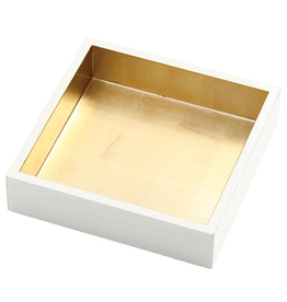 Caspari Ivory w Gold Lacquer Guest Towel Napkin Holder