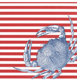 Caspari Paper Cocktail Napkins 20ct Blue Crabs and Red Stripes
