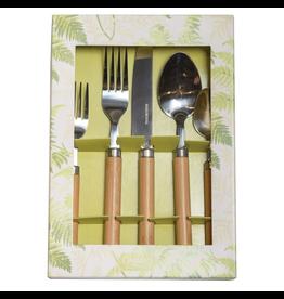 Caspari Bamboo Handle 5-Piece Stainless Steel Flatware Set -Natural