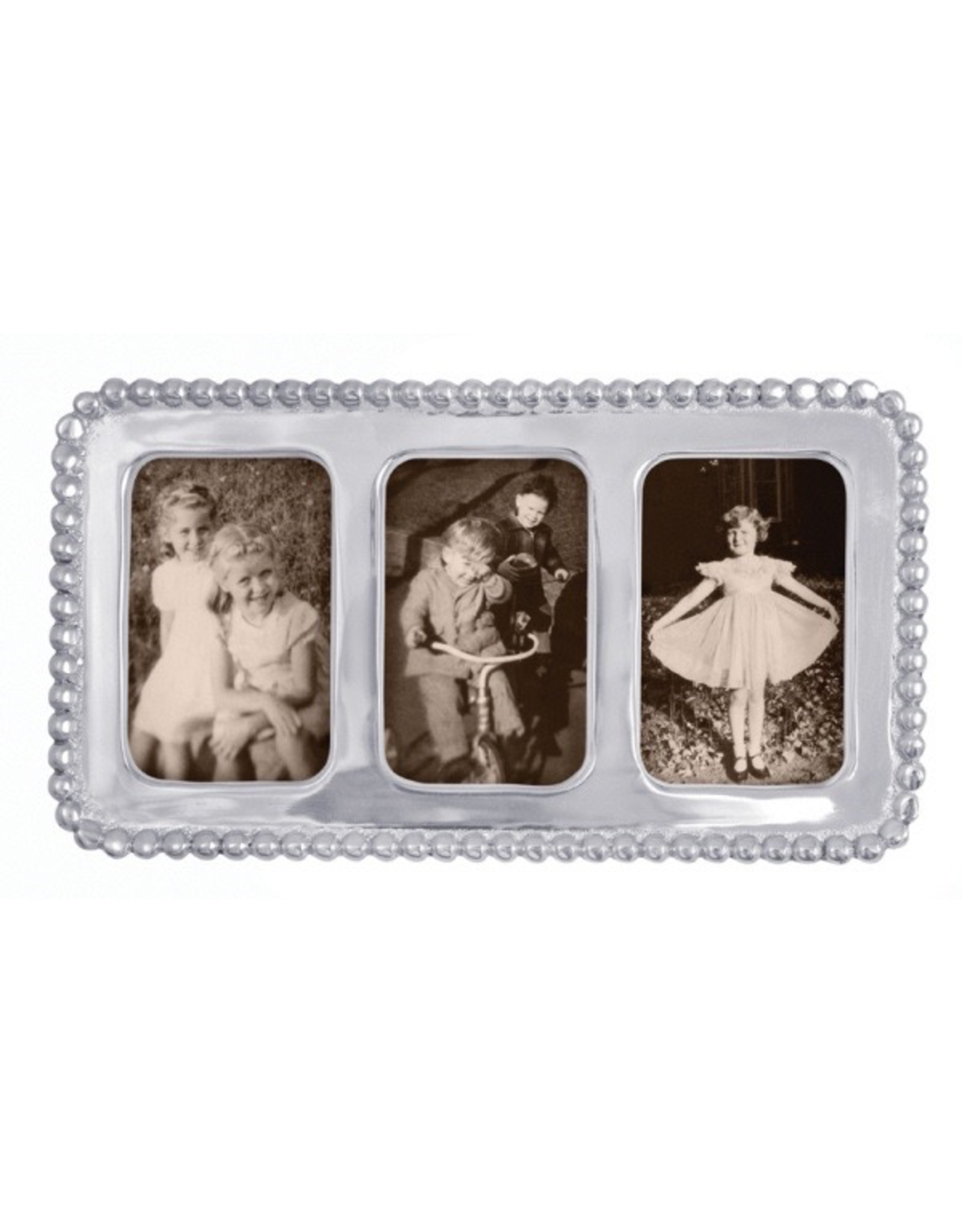 Mariposa Beaded Triple 2x3 Collage Photo Frame