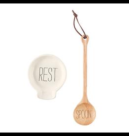 Mud Pie Wood Spoon w Spoon Rest Set