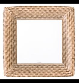 Caspari Paper Dinner Plates 8pk Square w Rattan Pattern
