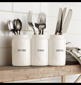 Mud Pie Triple Ceramic Jar Utensil Holder Spoons Forks Knives