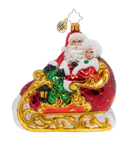 Christopher Radko Date Night Santa w Mrs Claus in Sled Christmas Ornament