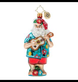 Christopher Radko Tropical Ukulele Santa Christmas Ornament