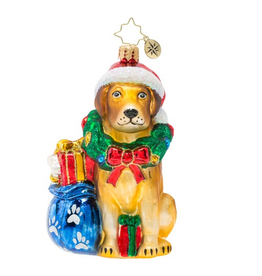 Christopher Radko Nobel Yellow Lab Dog Pet Christmas Ornament