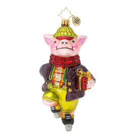 Christopher Radko Speed Skating Piggy Christmas Ornament