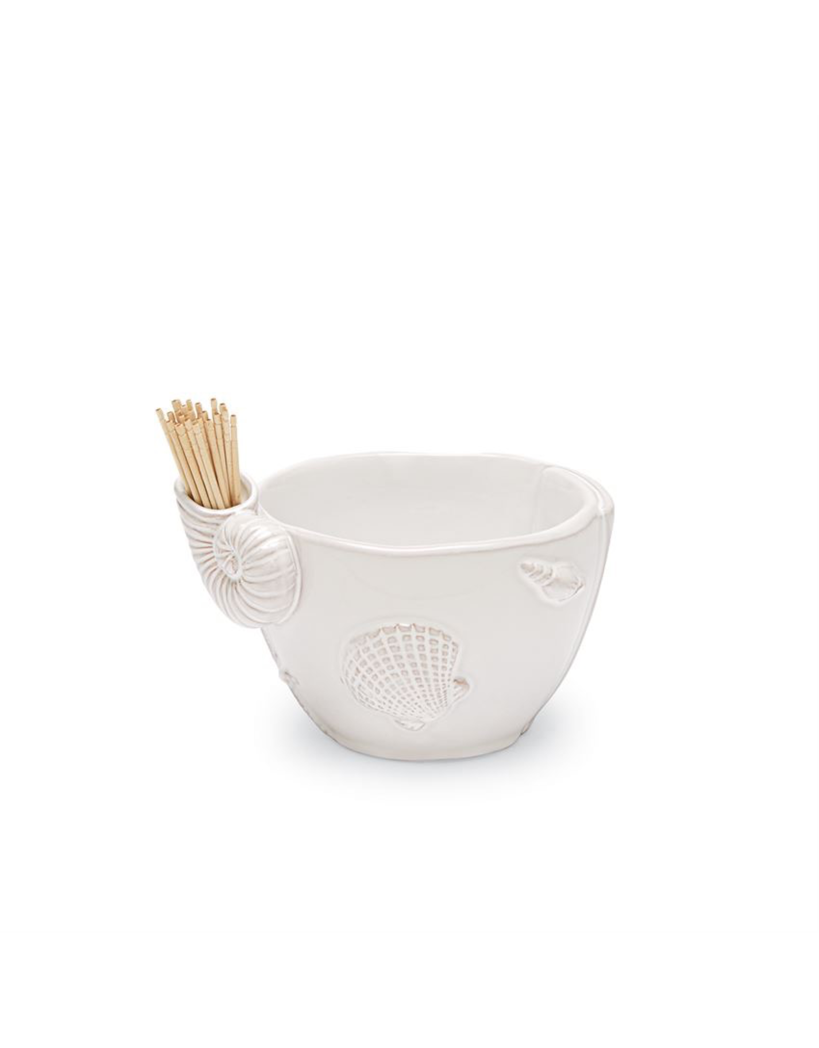 Mud Pie Beach House Multi Shell 24 Toothpick Holder on Bowl Set