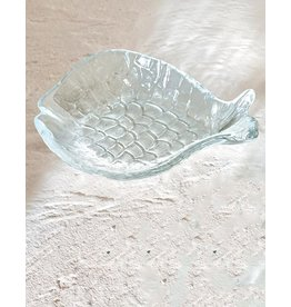 Mud Pie Small Glass Fish Tidbit Dish - Clear
