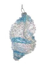 Kurt Adler Beaded Iridescent Glass Shell Ornament w Blue Clear Stripes - B
