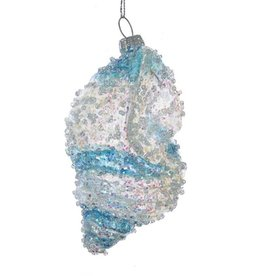 Kurt Adler Beaded Iridescent Glass Shell Ornament w Blue Clear Stripes - B