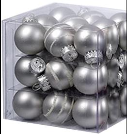 Kurt Adler Mini Glass Ball Ornaments 27pc Solids - Stripes 25MM - Silver Matte
