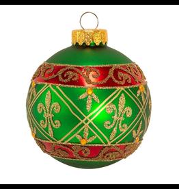 Kurt Adler Fleur-De-Lis Red Gold Green Glass Ball Ornaments Set of 6