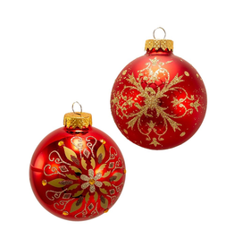 Kurt Adler Red w Gold Snowflake Ball Ornaments 80MM Set of 6