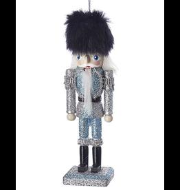 Kurt Adler Blue Silver Glitter Wooden Nutcracker Ornament 6 inch - A