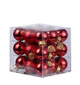 Kurt Adler Mini Glass Ball Ornaments 27pc Solids - Stripes 25MM - Red