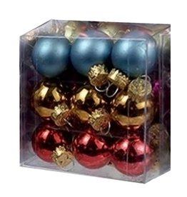 Kurt Adler Mini Glass Ball Ornaments 27pc Solids - Stripes 25MM - Multi