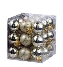 Kurt Adler Mini Glass Ball Ornaments 27pc Solids - Stripes 25MM - Gold
