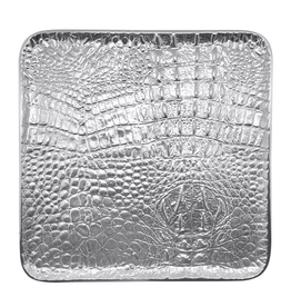 Mariposa Croc Medium Square Tray Textured Crocodile Skin Pattern