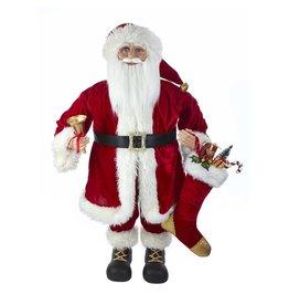 Kurt Adler Standing Santa w Stocking and Bell 36 inch Large Decorative Santas