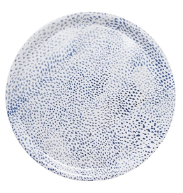 Mariposa Ary Home Blue Dot Round Tray w Melamine Top Coat