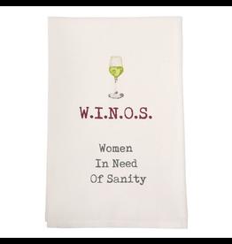 Mud Pie Wine Hand Towel w W.I.N.O.S. Women In Need Of Sanity