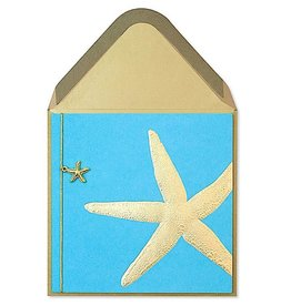 PAPYRUS® Blank Card Gold Starfish w Charm