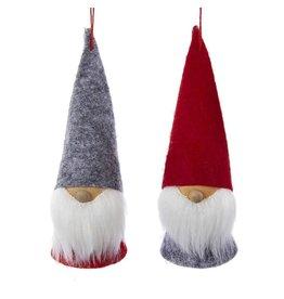 Kurt Adler Gnomes Wood and Felt Dwarf Gnome Ornaments 5 Inch Set of 2