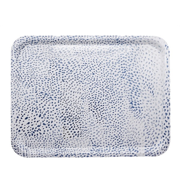 Mariposa Ary Home Blue Dot Rectangular Tray w Melamine Top Coat