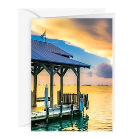 By The Seas-N Greetings Blank Note Card - Cash - Gift Card Holder - Sunset Key Dock I