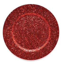 Dazzle Plate Charger 13 Inch Diameter Red Glittered
